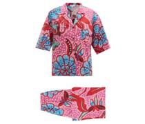 Oscar Floral-print Cotton Shirt And Trousers Set