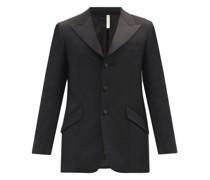 Peak-lapel Single-breasted Twill Jacket