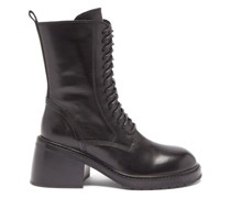 Lace-up Block-heel Leather Ankle Boots