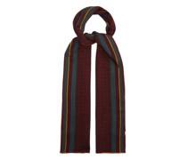 Polka-dot And Striped Wool-blend Scarf