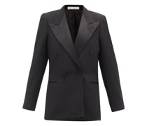 Double-breasted Satin-lapel Twill Tuxedo Jacket