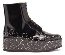 Flower-studded Leather Platform Boots