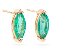 Emerald & 18kt Rose Gold Stud Earrings