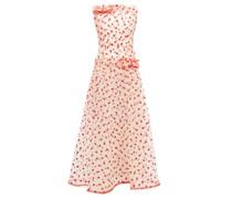 Flocked Heart-pattern Tulle Maxi Dress