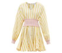 Olivia Belted V-neck Cotton-blend Mini Dress