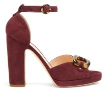 Aletha Tortoiseshell-buckle Suede Sandals