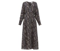 Batwing Geo-snake Print Silk Dress