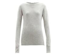 Sheer Raw-edge Crew-neck Cashmere Sweater