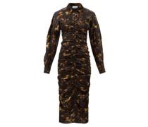Ruched Horse-print Silk-blend Satin Shirt Dress