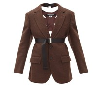 Harness-back Single-breasted Tweed Suit Jacket