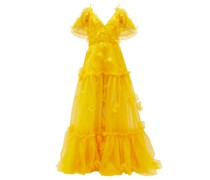 Floral-appliqué Tiered Silk-organza Gown