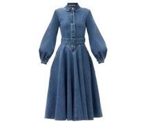 Jewel Belted Balloon-sleeve Denim Dress