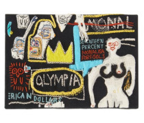 Basquiat Olympia-embroidered Canvas Clutch