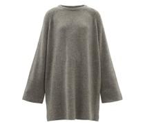 Wide-sleeve Oversized Longline Wool-blend Sweater