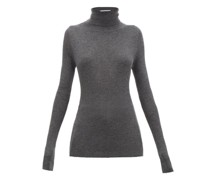 Roll-neck Fine-rib Cashmere Sweater