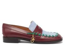 Bi-colour Square-toe Flat Leather Loafers