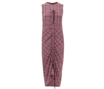 Drawstring-ruched Checked Crepe Dress