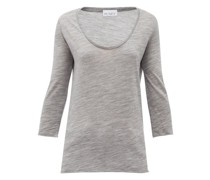 Scoop-neck Wool-jersey T-shirt