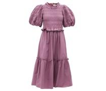 Rene Puff-sleeve Shirred Cotton-poplin Dress