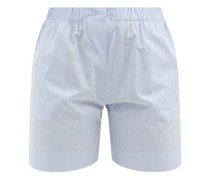 Drawstring-waist Striped Cotton Pyjama Shorts