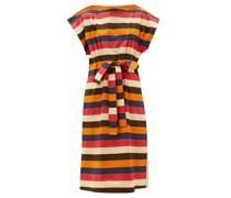 Striped Drawstring-waist Cotton-poplin Dress