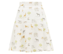 Iris Safari-print Linen Mini Skirt