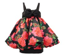 Puffed Floral-print Satin Mini Dress