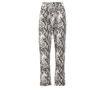High-rise Snake-print Cropped Jeans