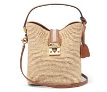 Murphy Leather-trimmed Raffia Bag