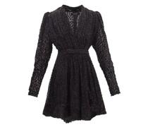 Melyo V-neck Polka-dot Devoré Mini Dress