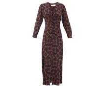Ophelia Floral-print Silk-twill Midi Dress