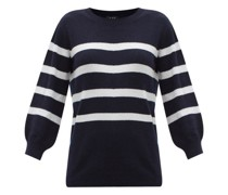 Lizzy Cropped-sleeve Striped Cotton-blend Sweater