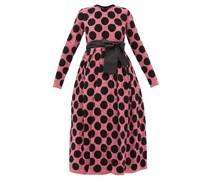Polka-dot Waist-sash Sequined Midi Dress