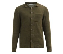 Point-collar Knitted-linen Cardigan