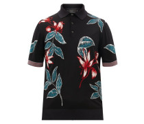 Floral-intarsia Wool-blend Polo Shirt