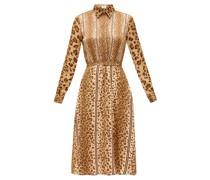Belted Leopard-print Satin Shirt Dress
