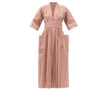 Charita Wide-sleeve Gingham Cotton-blend Sun Dress