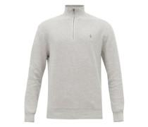 Logo-embroidered Zip-neck Cotton-piqué Sweater