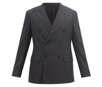 Double-breasted Peak-lapel Pinstriped Wool Jacket