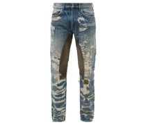 Moleskin-patch Distressed Slim-leg Jeans