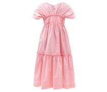 Raphaela Gathered Tiered Taffeta Midi Dress