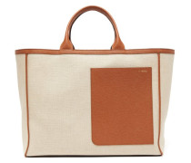 Shopping Large Canvas And Leather Tote Bag