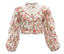 Egan Balloon-sleeve Floral-print Cotton Top