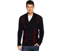 Strickjacke, navy/bordeaux, Herren