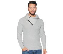 Pullover mit zipbarem Kragen, Grau, Herren
