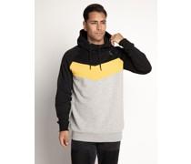 Kapuzensweatshirt schwarz/gelb/hellgrau meliert