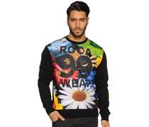 Floral Crewneck Sweatshirt, black, Herren
