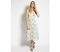 Kleid beige/blau/grün