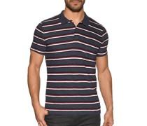 Kurzarm Poloshirt Slim Fit navy/rot
