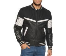 Lederjacke schwarz/weiß